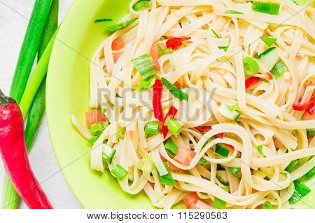 Pasta With Leek, Chili And Vegetables