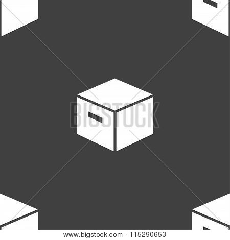 Packaging Cardboard Box Icon Sign. Seamless Pattern On