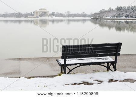 Washington DC in snow - Jefferson Memorial as seen from Tidal Basin