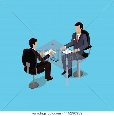 Isometric Hiring Recruiting Interview