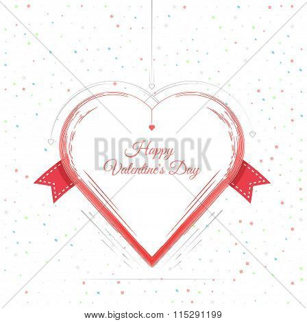 Valentines Day Card Lettering Red Frame
