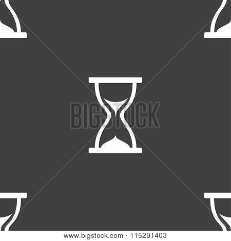 Hourglass Icon Sign. Seamless Pattern On A Gray Background.