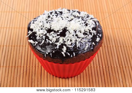 Fresh Chocolate Muffins With Desiccated Coconut