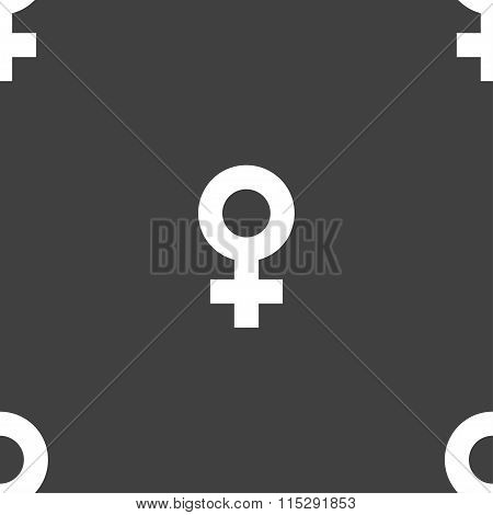 Female Icon Sign. Seamless Pattern On A Gray Background.