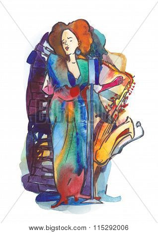 Jazz female singer and saxophonist play music