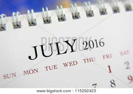 Close up calendar of July 2016