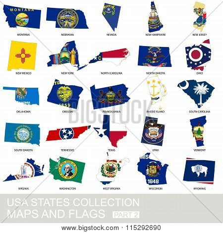 Usa State Collection, Maps And Flags