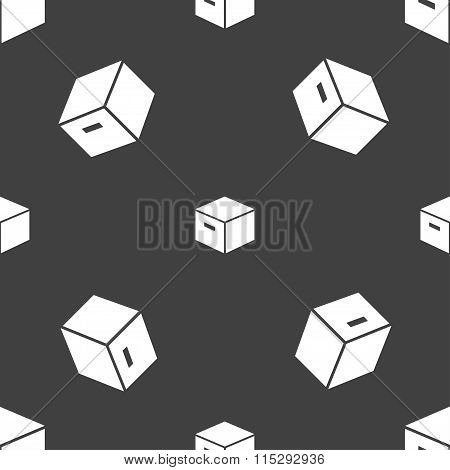 Packaging Cardboard Box Icon Sign. Seamless Pattern On A Gray Background.