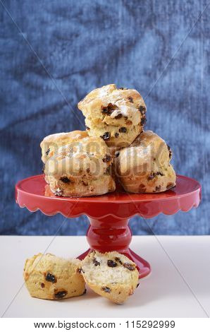 Fruit Scones On Red Cake Stand.