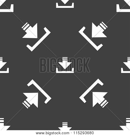 Restore Icon Sign. Seamless Pattern On A Gray Background.