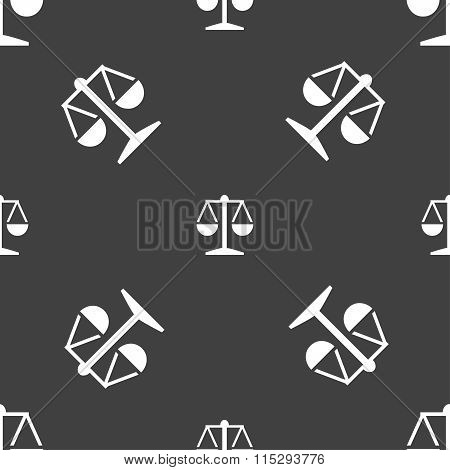 Libra Icon Sign. Seamless Pattern On A Gray Background.