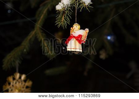 Christmas Decoration With Christmas Tree, Angel And Ribbons