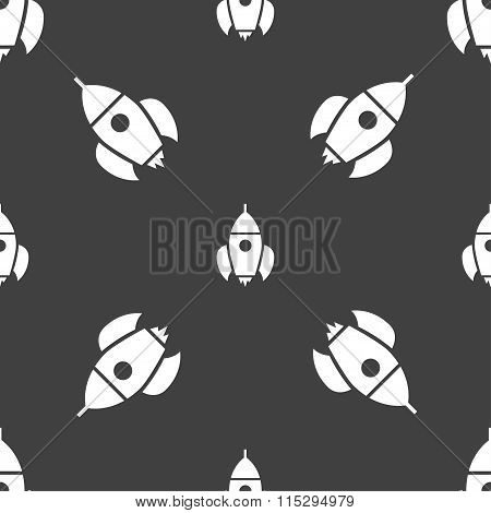 Rocket Icon Sign. Seamless Pattern On A Gray Background.