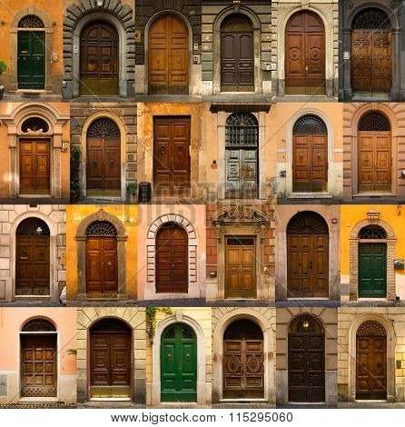 A collage of 24 wooden doors from Roma, Italy