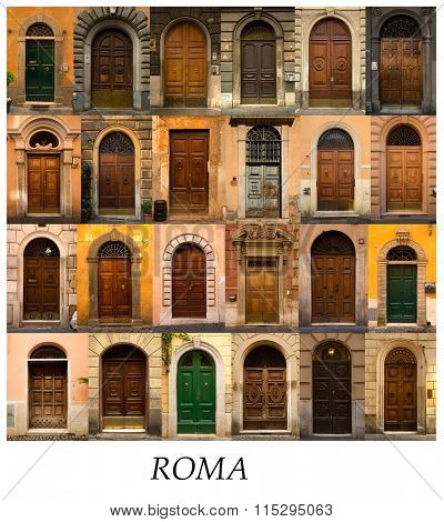 A collage of 24 wooden doors presented in a white border with the city name Roma.