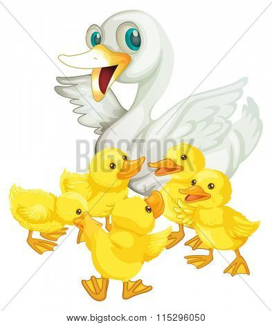 Mother duck and five ducklings illustration