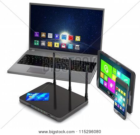 Router, Laptop, Smartphone, Tablet And Credit Card.