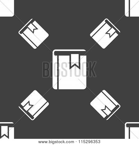 Book Bookmark Icon Sign. Seamless Pattern On A Gray Background.
