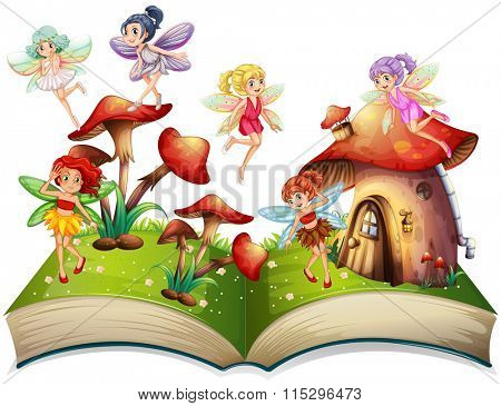 Fairies flying around the mushroom house illustration