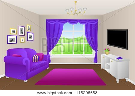 Living room sofa pillows lamps window illustration vector