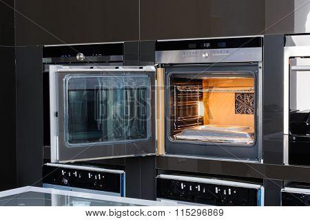 Modern oven with door open