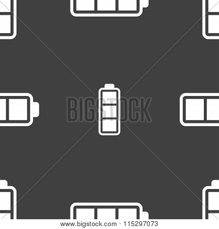 Battery Fully Charged Icon Sign. Seamless Pattern On A Gray Background.
