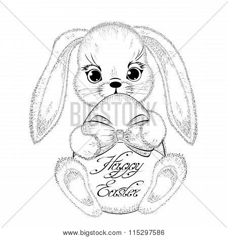 Hand drawn easter rabbit with paschal egg