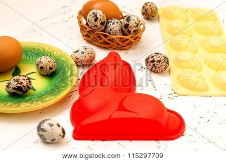 Easter Baking Dish And Quail Eggs. Easter Card.