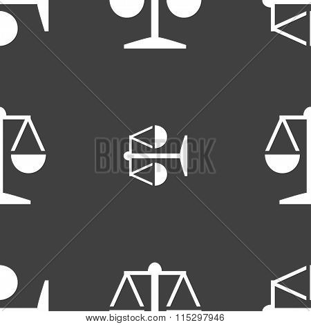 Libra Icon Sign. Seamless Pattern On A Gray