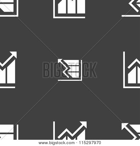 Growing Bar Chart Icon Sign. Seamless Pattern On A Gray