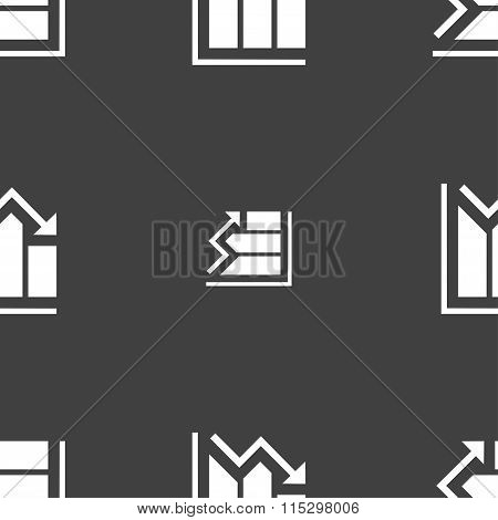 Histogram Icon Sign. Seamless Pattern On A Gray