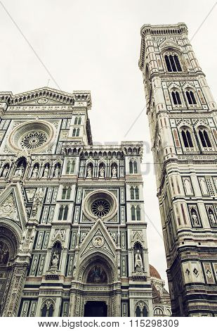 Giotto's Campanile And Cathedral Santa Maria Del Fiore In Florence, Italy