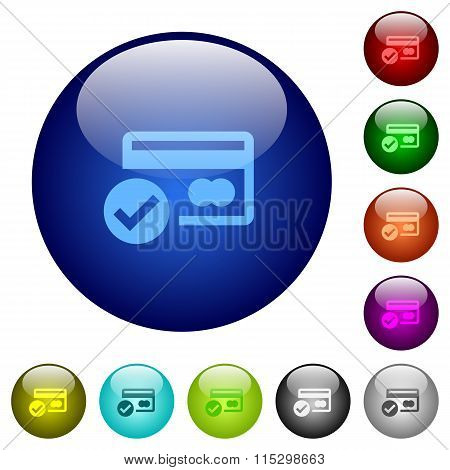 Color Credit Card Verified Glass Buttons