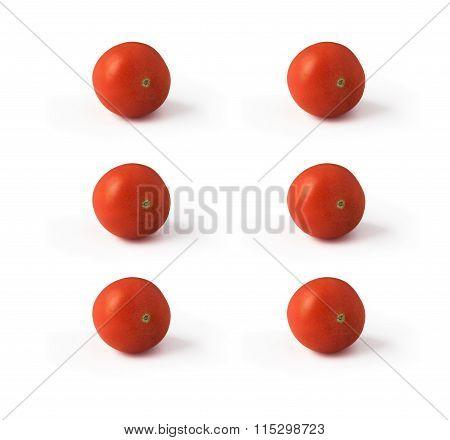 Six tomatoes isolated on white background
