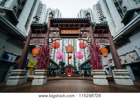 Arch And Buildings At Aberdeen Square, In Hong Kong, Hong Kong.