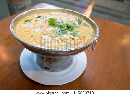 Tom Yum Goong (shrimp Hot Pot) With Coconut Soup, A Thai Famous Menu