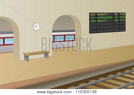 Railway station platform train illustration vector