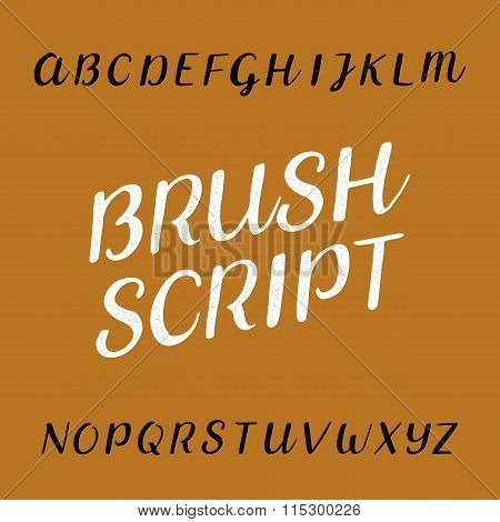 Brush script distressed alphabet vector font