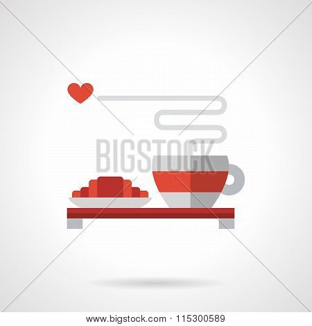 Breakfast for lovers flat color vector icon