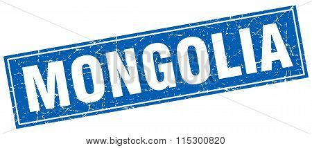 Mongolia blue square grunge vintage isolated stamp
