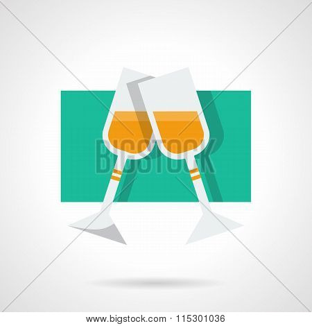 Two champagne glasses flat vector icon