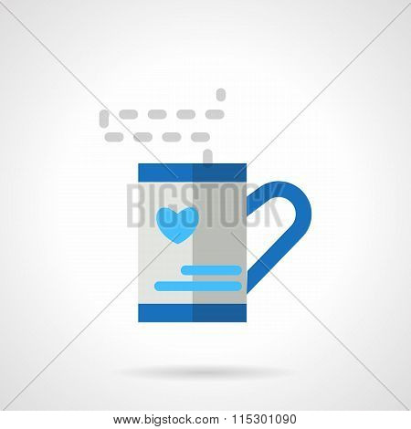 Tea cup with love heart blue flat vector icon