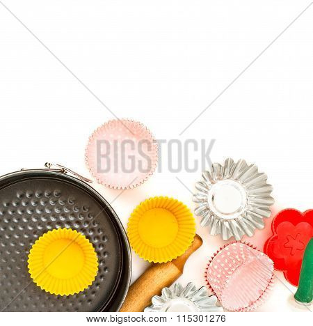 Appliances For Baking Closeup On Wooden Background