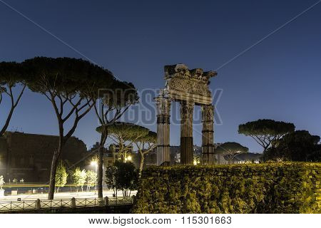 Ruins In Rome At Night