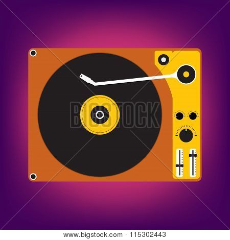 Flat Design Of Disk Record Player For Dj Music On Light Purple Background. Vector Illustration Desig