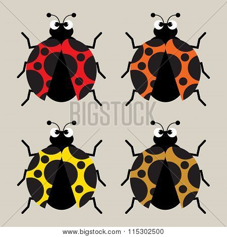 Four Colorsful Cute Cartoon Ladybirds Or Ladybugs On Bright Background. Vector Illustration Flat Des