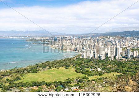 Panorama Skyline View Of Honolulu City And Waikiki Beach In The Pacific Island Of Oahu In Hawaii