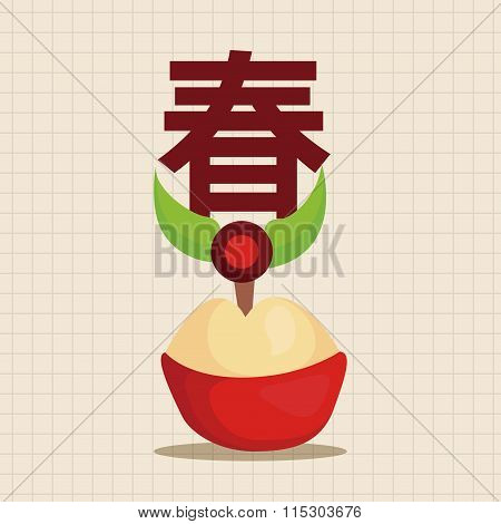"Chinese New Year Theme Elements ,chinese Steamed Sponge Cake Means Both ""prosperity And Wealth"