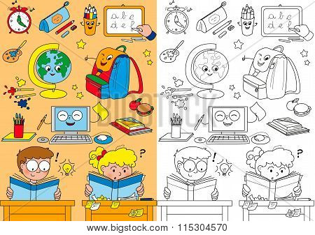 Coloring school elements for little kids