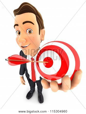 3d businessman holding a sphere target